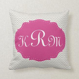 Modern Gray & Pink Monogram Pillows