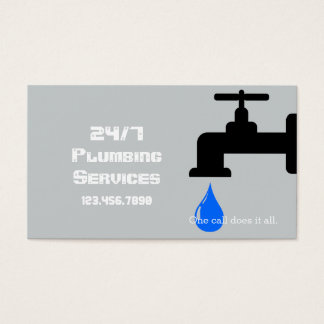 Modern Gray Plumbing Plumber Faucet Water Business Card
