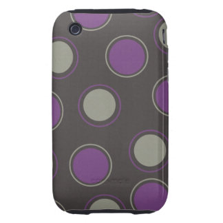 Modern Gray Purple Polka Dots Concentric Circles Tough iPhone 3 Covers