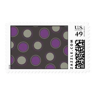 Modern Gray Purple Polka Dots Concentric Circles Stamp