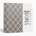 Modern Gray Quatrefoil Personalized Recipe 3 Ring Binder