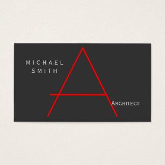 Modern Gray Red Monogram Architect Business Card