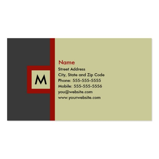 Modern Gray & Red Monogram Business Card