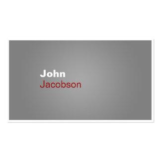 Modern Gray Red White Plain Business Card