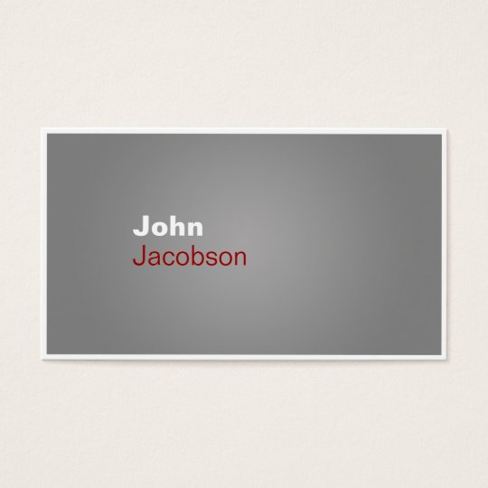 Modern Gray, Red & White Plain Business Card