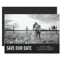 Modern Gray Save the Date with Photo Card