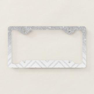 Modern gray silver glitter ombre chevron geometric license plate frame