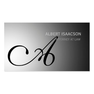 Modern Gray Simple Monogram Business Card