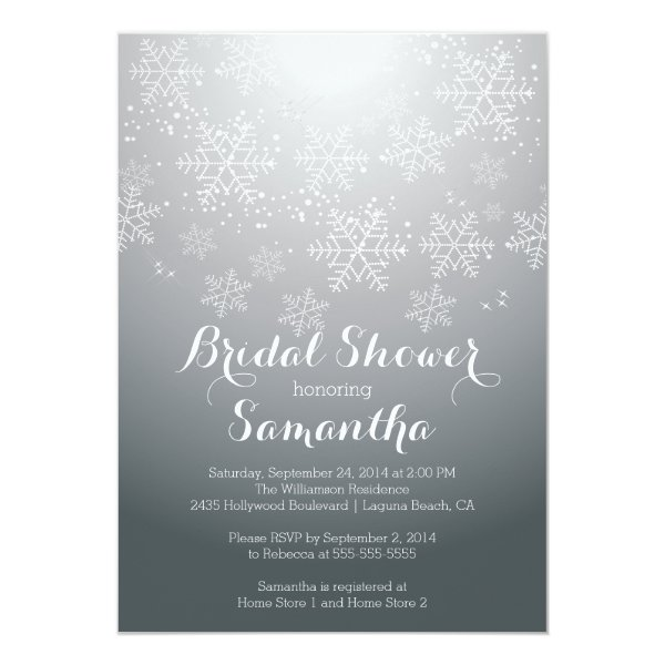 Modern Gray Snowflake Bridal Shower Invitation
