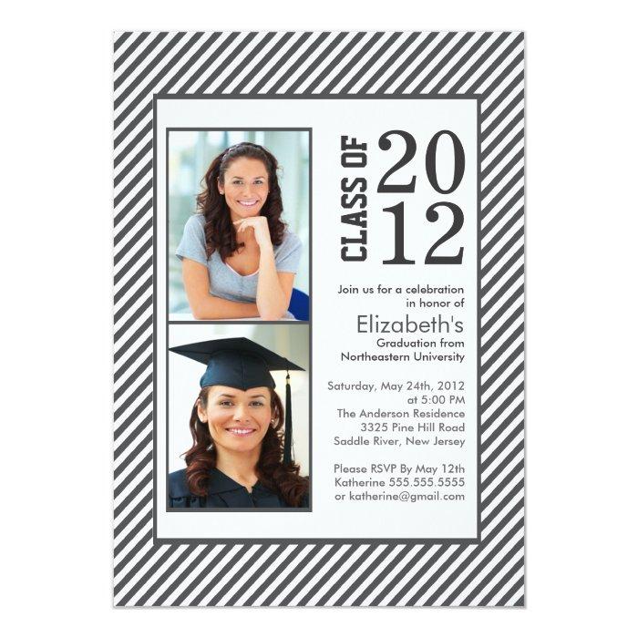 Modern Gray Stripes Photo Graduation invitation