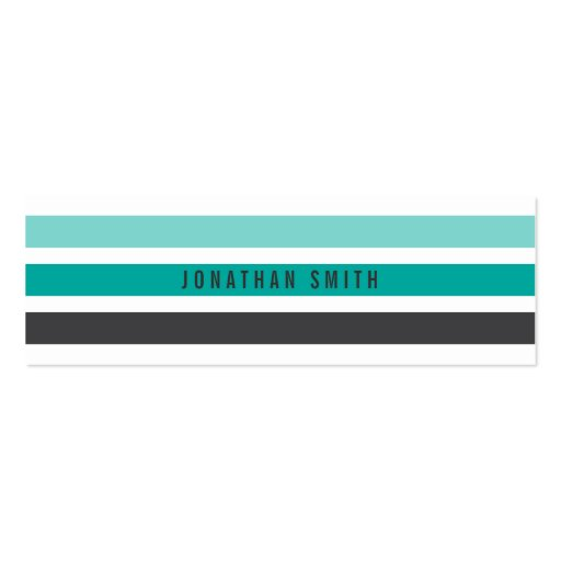 Modern gray teal aqua retro stripes stylish white business card template