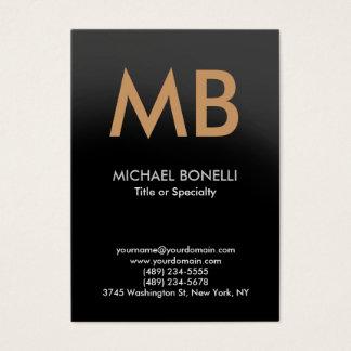 Modern gray trendy monogram business card