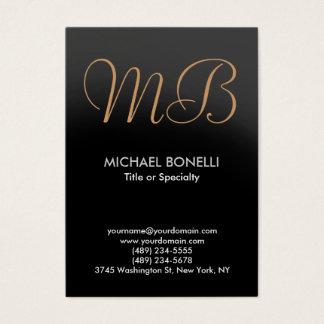 Modern gray trendy script monogram business card