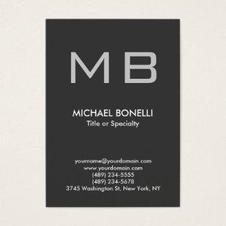 Modern gray trendy stylish monogram business card