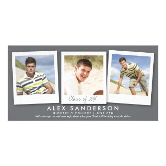 Modern Gray Triple Photo Graduation Announcement