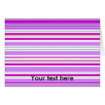 Modern gray violet and pink horizontal stripes stationery note card