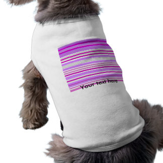 Modern gray violet and pink horizontal stripes dog tshirt