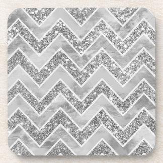 Modern gray watercolor faux silver glitter chevron coaster