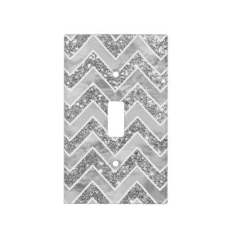 Light switch covers zazzle modern gray watercolor faux silver glitter chevron light switch cover sciox Gallery