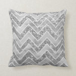 "Modern gray watercolor faux silver glitter chevron throw pillow<br><div class=""desc"">A modern,  elegant gray watercolor geometric chevron pattern with chic faux silver glitter and custom white zigzags pattern. A bit of glitz and glam with an artistic touch.</div>"