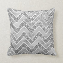 Modern gray watercolor faux silver glitter chevron throw pillow