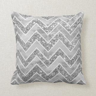 Modern gray watercolor faux silver glitter chevron throw pillow