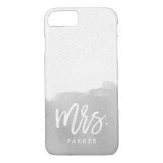 Modern Gray Watercolor Splash | Typography Mrs iPhone 7 Case