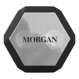 Modern Gray Watercolor Splash with your Name Black Bluetooth Speaker