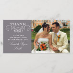 """Modern Gray Wedding Photo Thank You Cards<br><div class=""""desc"""">Use these elegant photo cards to send out to your guests to say thanks for being a part of your wedding celebration. Completely customize with your own message,  names and picture.</div>"""