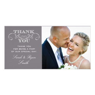 Modern Gray Wedding Photo Thank You Cards Photo Card