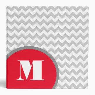 Modern Gray & White Chevron Monogram Binder