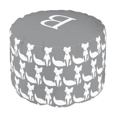 Modern Gray White Fox Pattern Monogram Pouf
