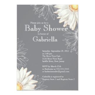 Modern Gray & White Gerbera Daisy Baby Shower Card