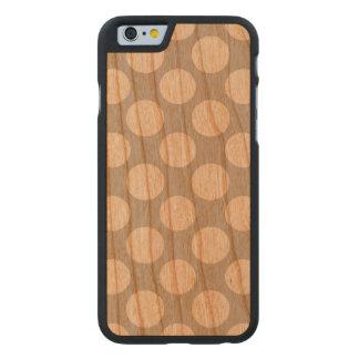 Modern Gray White Polka Dots Pattern Carved® Cherry iPhone 6 Slim Case