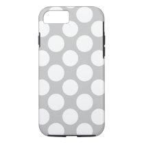 Modern Gray White Polka Dots Pattern iPhone 7 Case