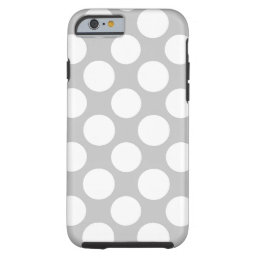 Modern Gray White Polka Dots Pattern Tough iPhone 6 Case