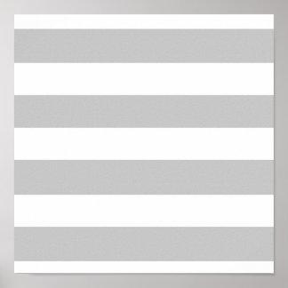 Modern Gray White Stripes Pattern Print