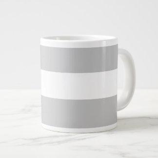 Modern Gray White Stripes Pattern Jumbo Mug