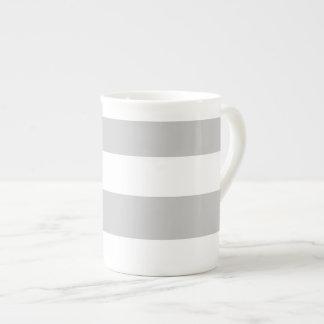Modern Gray White Stripes Pattern Bone China Mugs