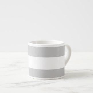 Modern Gray White Stripes Pattern Espresso Mug