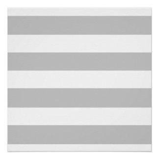Modern Gray White Stripes Pattern Perfect Poster