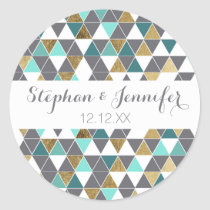 Modern Gray White Teal and Faux Gold Triangles Classic Round Sticker