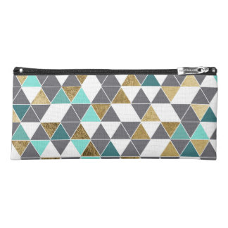 Modern Gray White Teal and Faux Gold Triangles Pencil Case