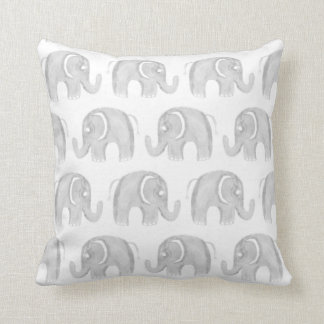 Modern gray white watercolor hand painted elephant throw pillow