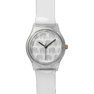 Modern gray white watercolor pastel cute elephant wrist watch