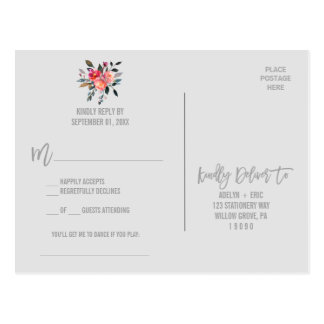 Modern Gray | Winter Flower Song Request RSVP Postcard
