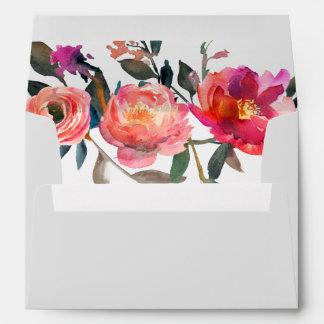 Modern Gray | Winter Flower Wedding Invitation Envelope