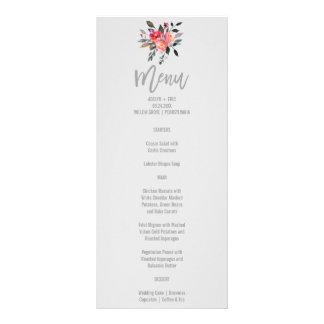 Modern Gray | Winter Flower Wedding Menu Card