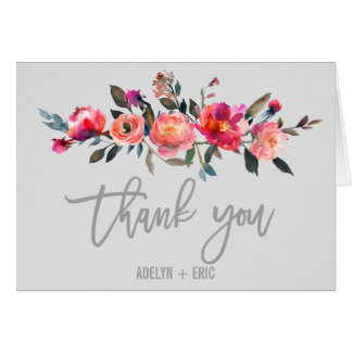 Modern Gray | Winter Flower Wedding Thank You Card