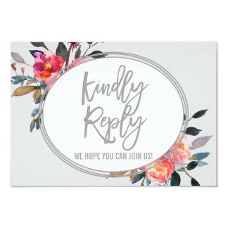 Modern Gray | Winter Flower Wedding Website RSVP Card